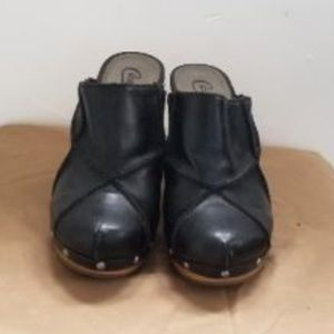 Black Leather Candies Clogs
